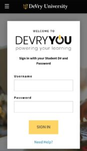 Devry University Student Portal Login